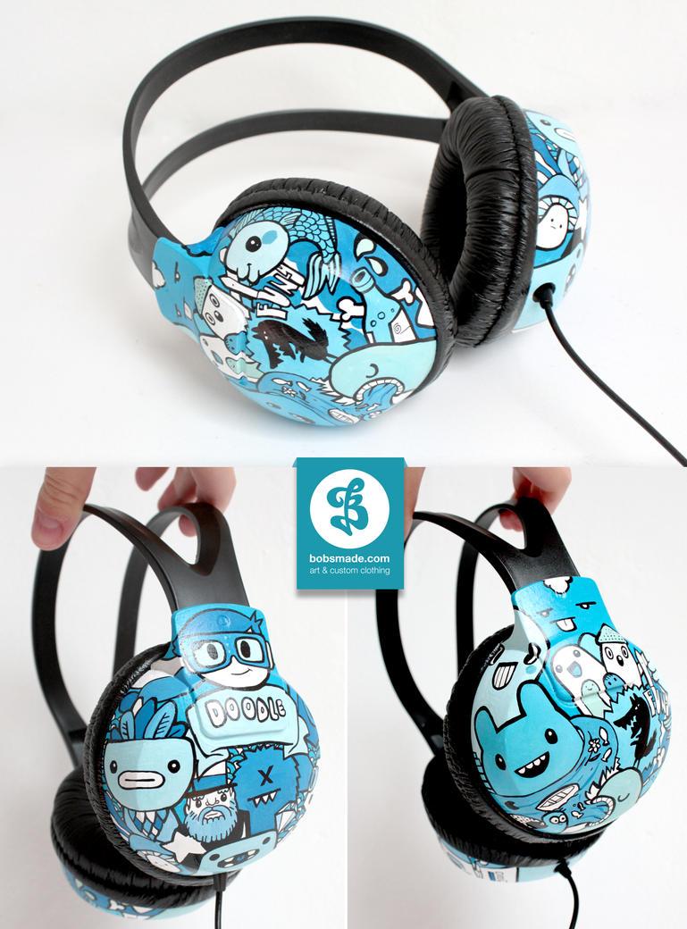 Blue Doodle Headphones by Bobsmade