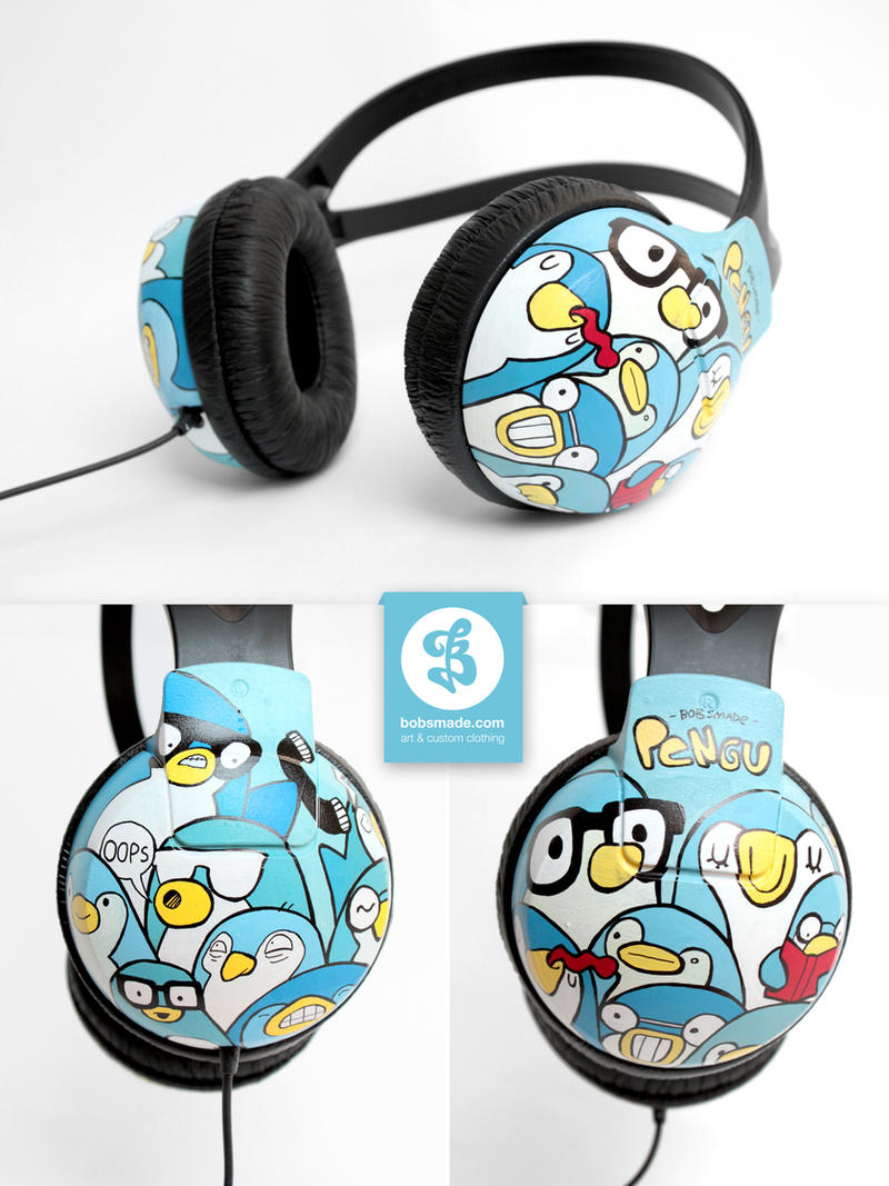 Penguin Crowd Headphones by Bobsmade