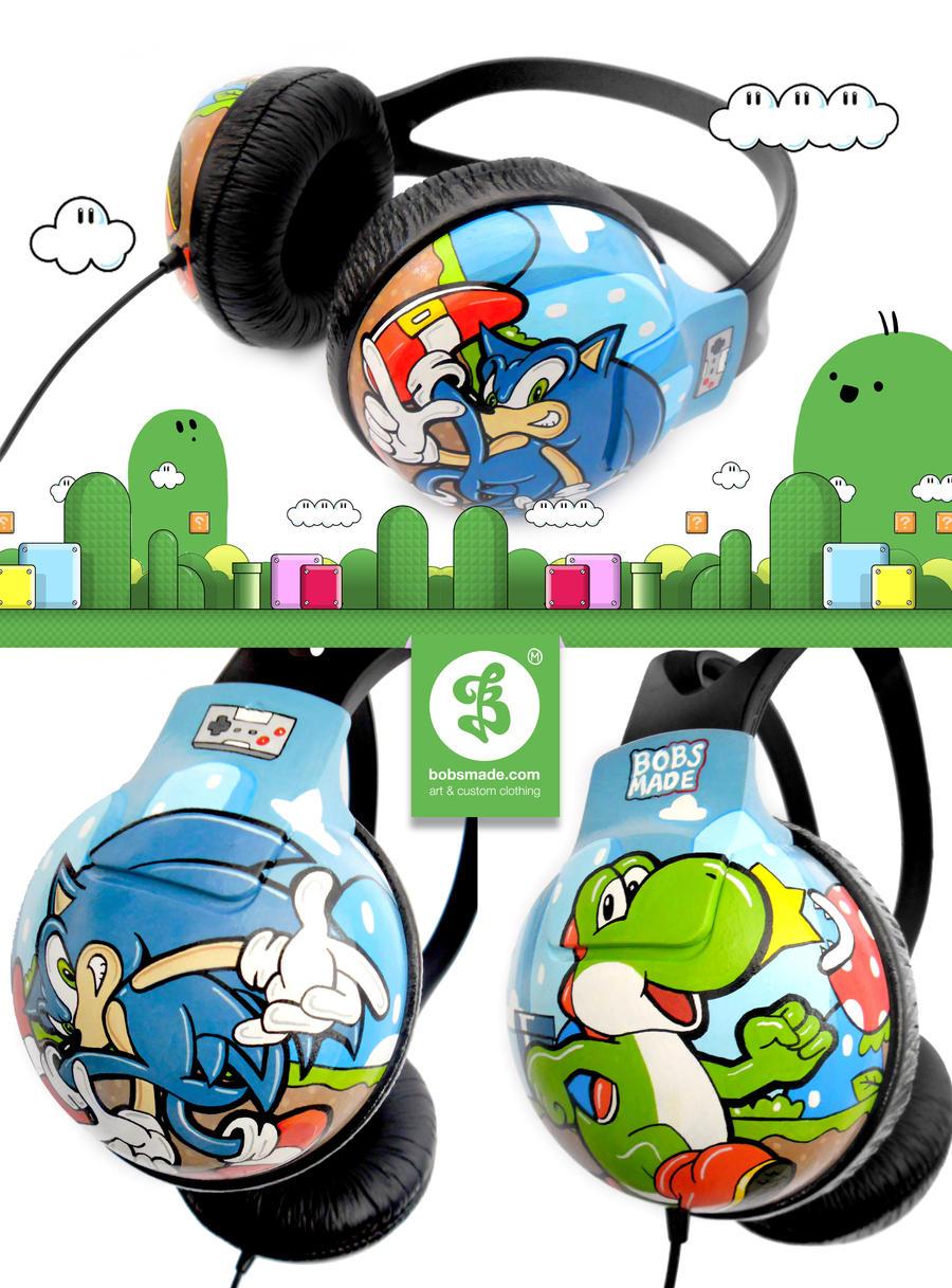 Sonic vs Yoshi headphones by Bobsmade