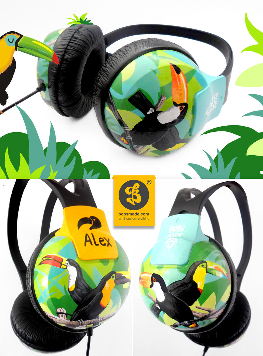 Toucan Bird Headphones by Bobsmade