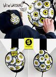We watching you- creepy eyeballs Headphones