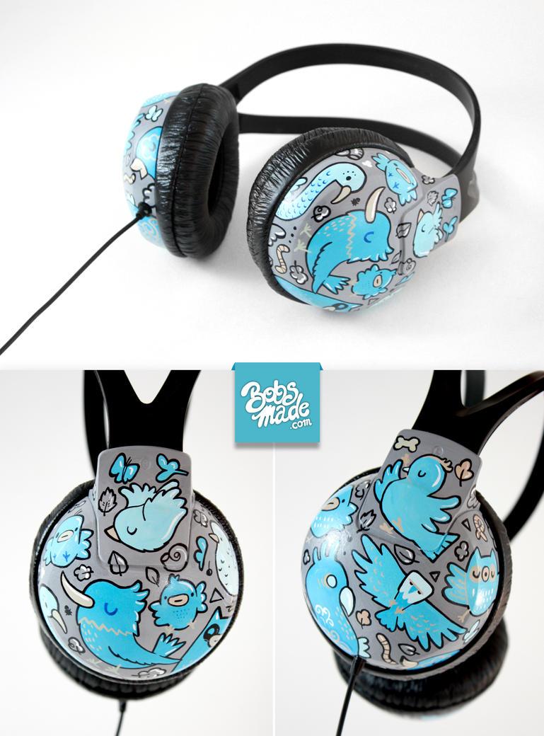 Blue bird Headphones by Bobsmade