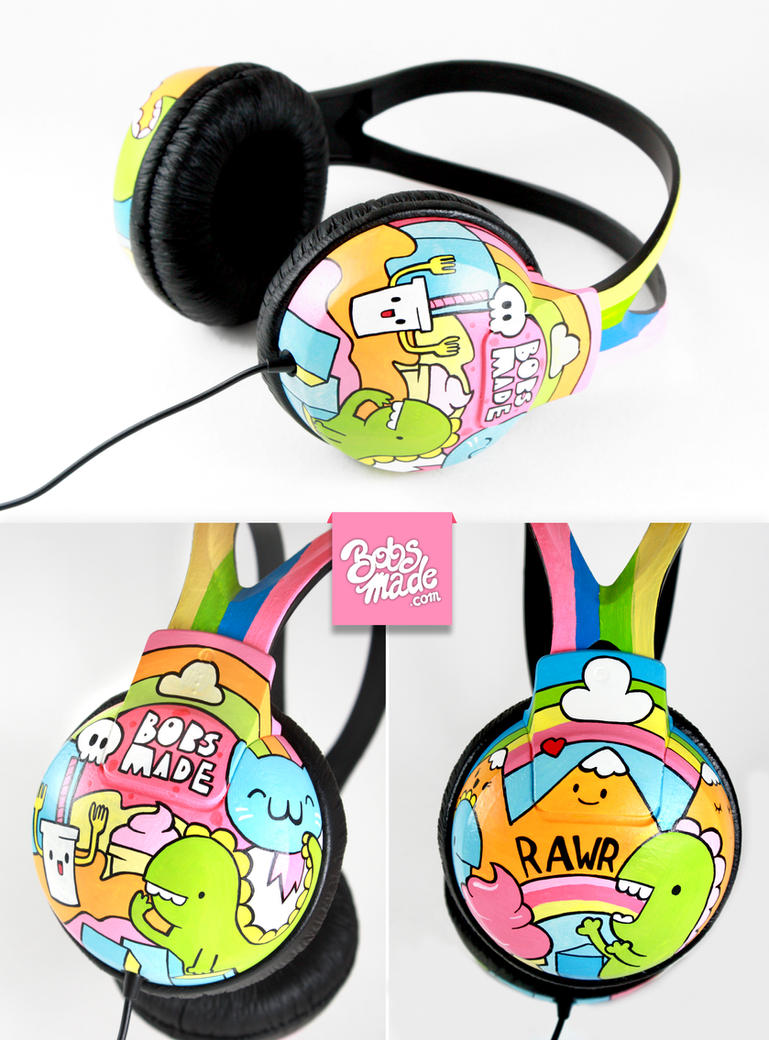 Dino Headphones by Bobsmade