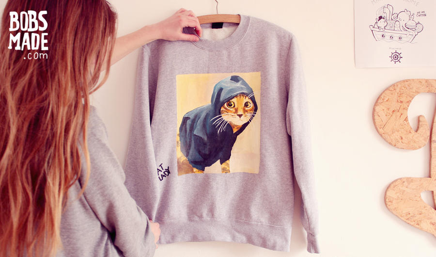 Hoodie Cat Sweater by Bobsmade