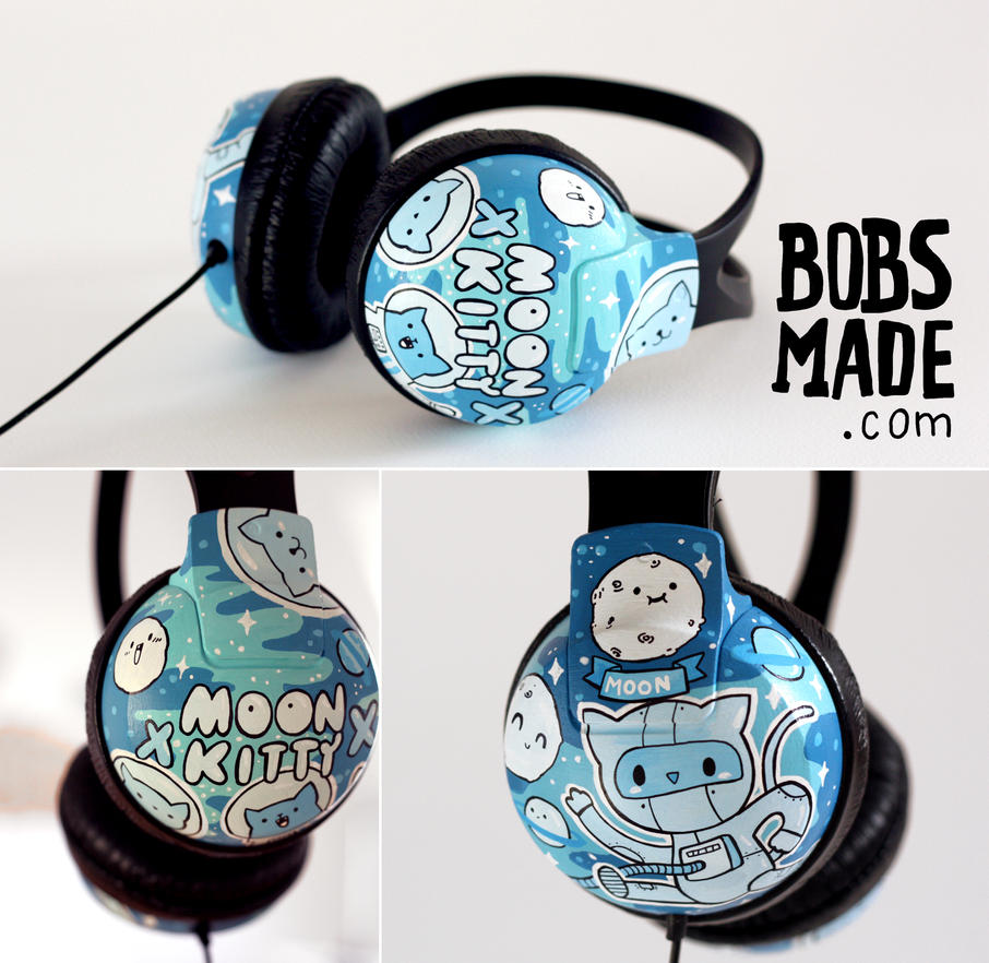 moon kitty headphones by Bobsmade
