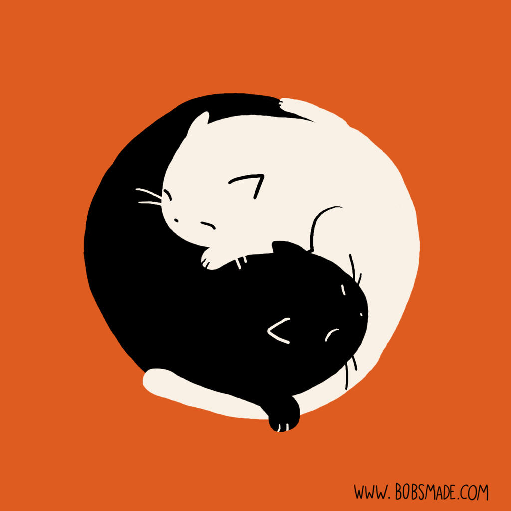 Cat Yin Yang by Bobsmade