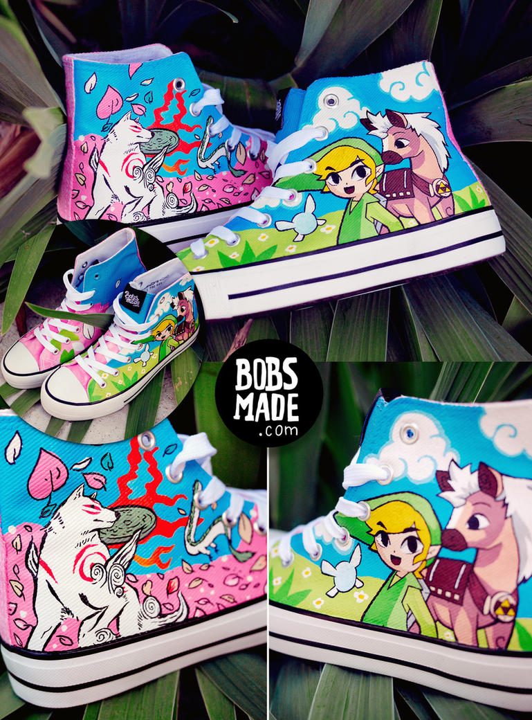 WIndwaker X Okami Shoes by Bobsmade
