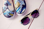 The Great Wave off Kanagawa shoes and glasses