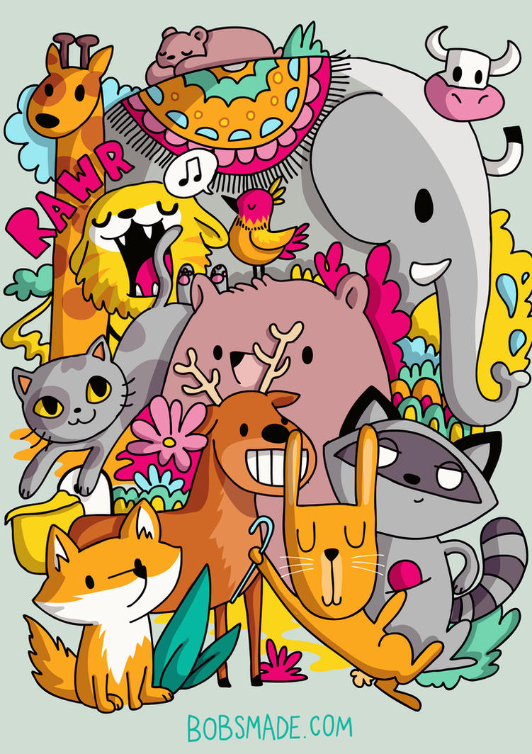 Animals Doodle by Bobsmade