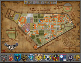 Rice University Campus Map [Old paper Style] by daeVArt