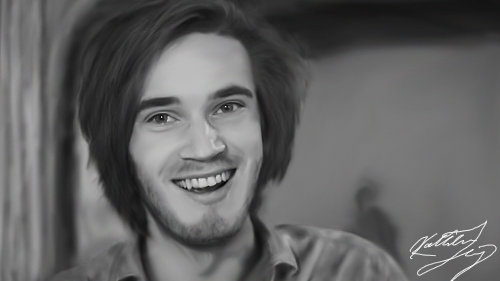 Painted: PewDiePie by SilverGoldsun