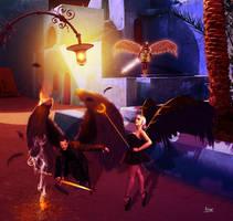 Two fallen and an Arcangel by Julianez