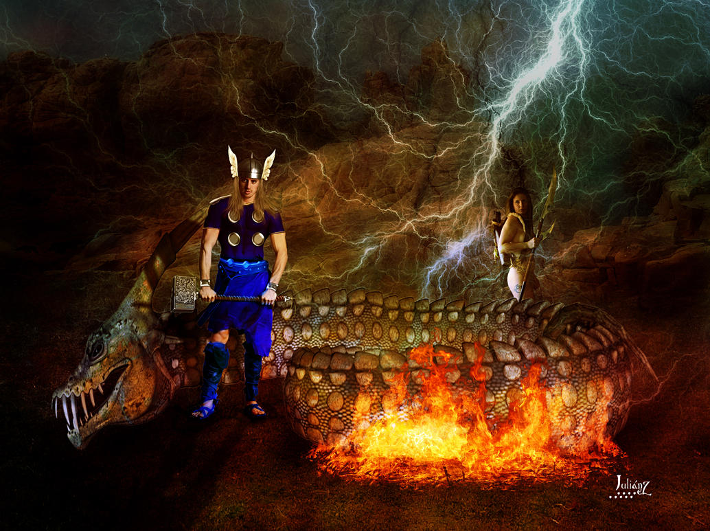 Thor and the serpent of chaos by Julianez