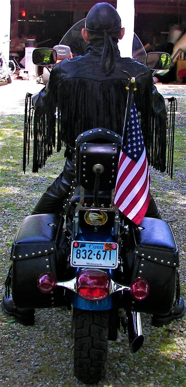 SouthwesternEagle in Fringed Leather on his Harley by PhoenixTheBikerEagle