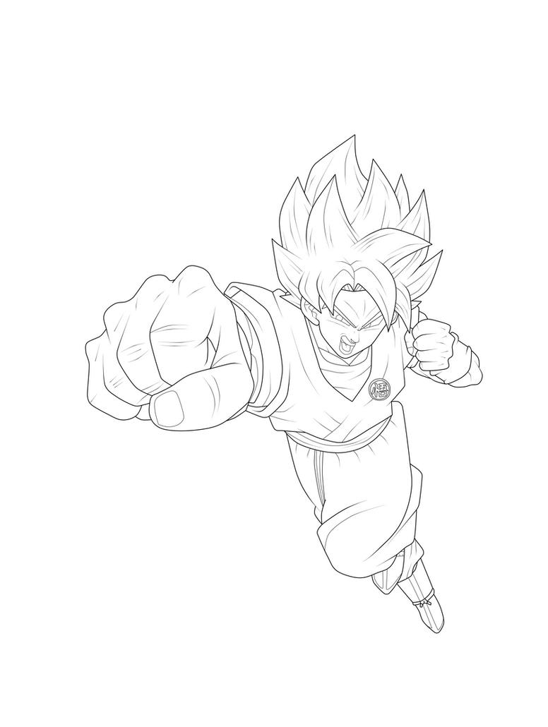 Goku Super Saiyan Blue Kaioken X10 Lineart by ChronoFz on ...