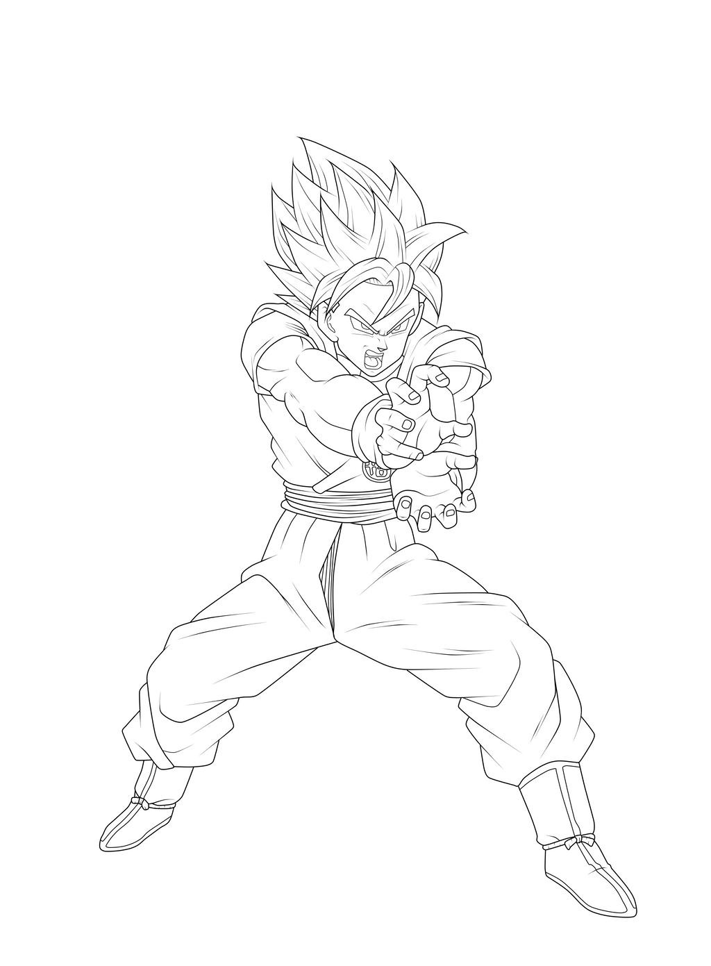 Goku Super Saiyan Blue Kaioken Lineart by ChronoFz on ...