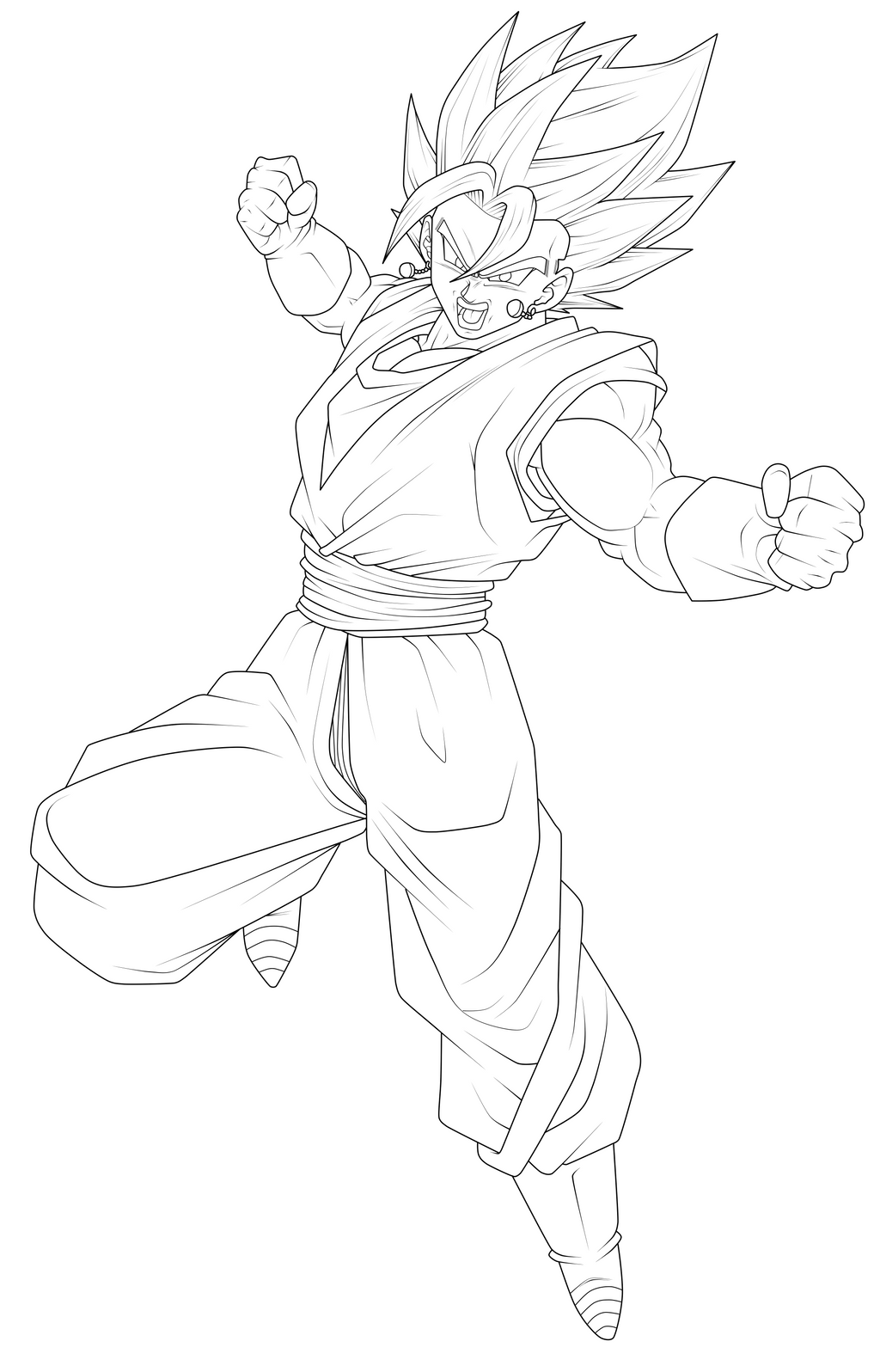 Vegito Super Saiyan Blue Lineart by ChronoFz on DeviantArt