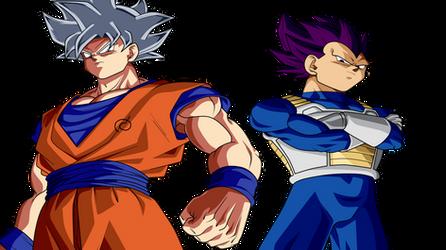 Goku Ultra Instinct y Vegeta Hakai Power