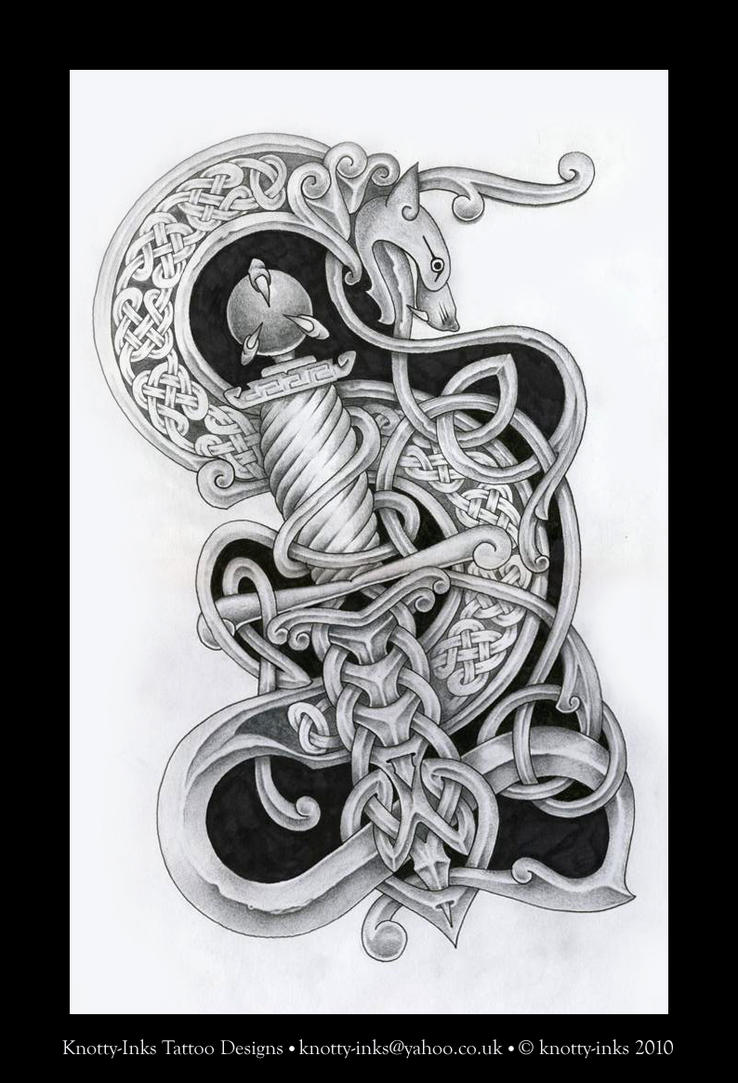 dragon and dagger celtic knot by tattoo design on deviantart. Black Bedroom Furniture Sets. Home Design Ideas