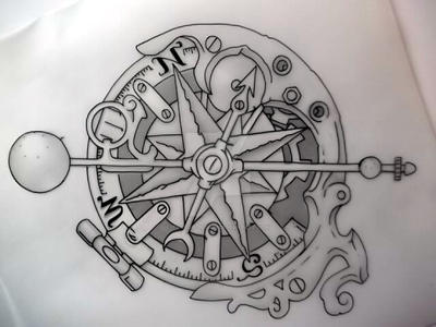 Steampunk compass outline by Tattoo-Design