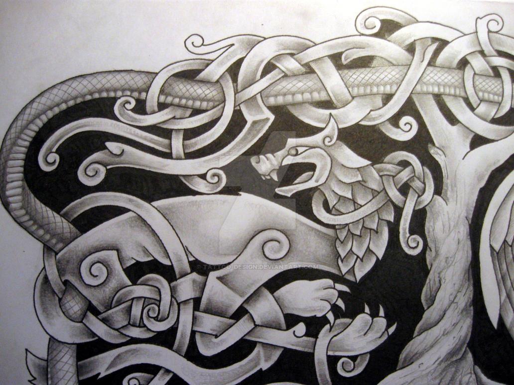 efd760796 Norse mythology tattoo design Fenrir detail by Tattoo-Design on ...