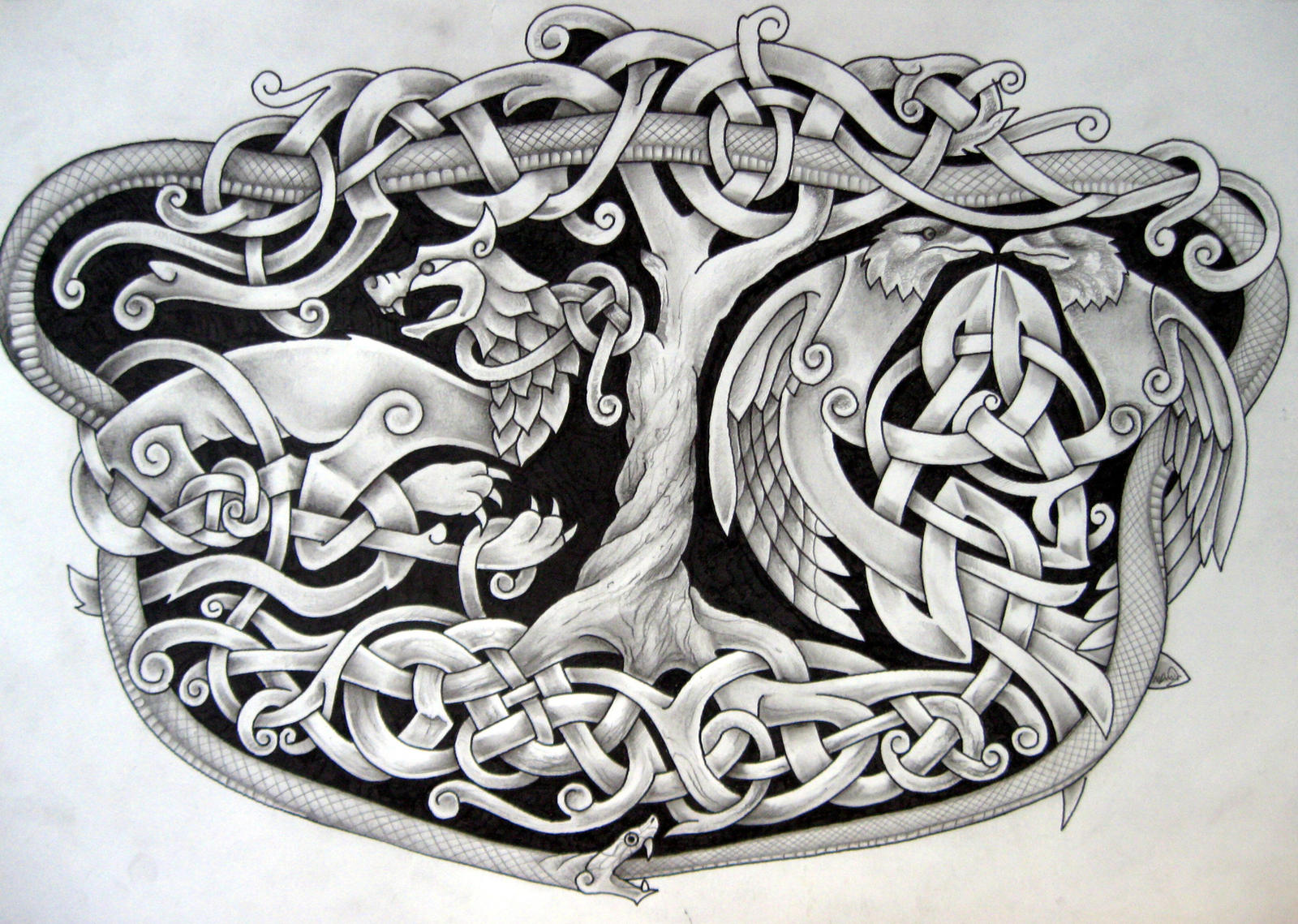 Fenrir Hugin Mugin Jormungandr Yggdrasil by Tattoo-Design