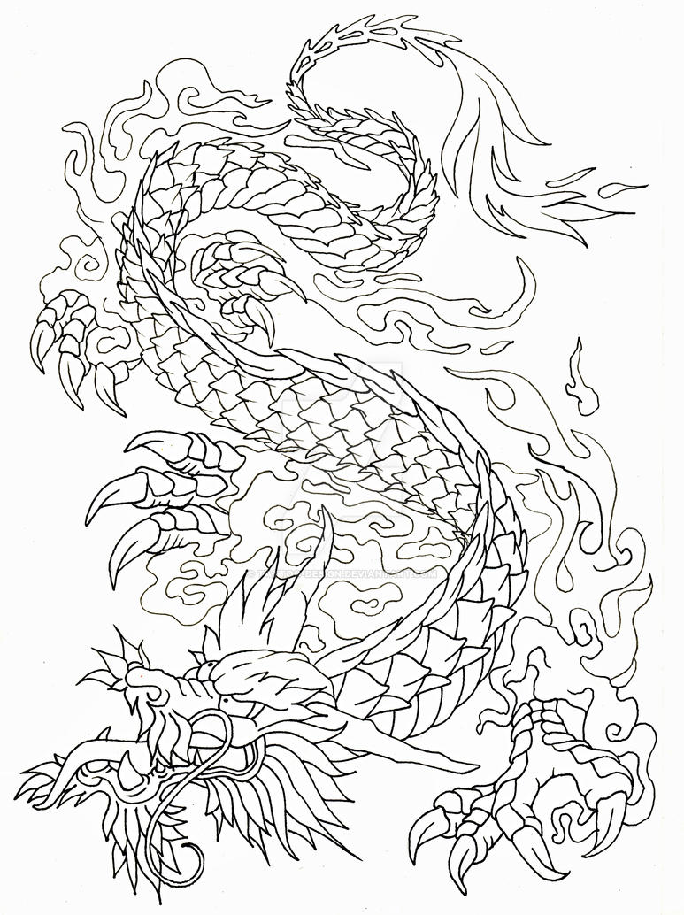 dragon outline by tattoo design - Dragon Outline