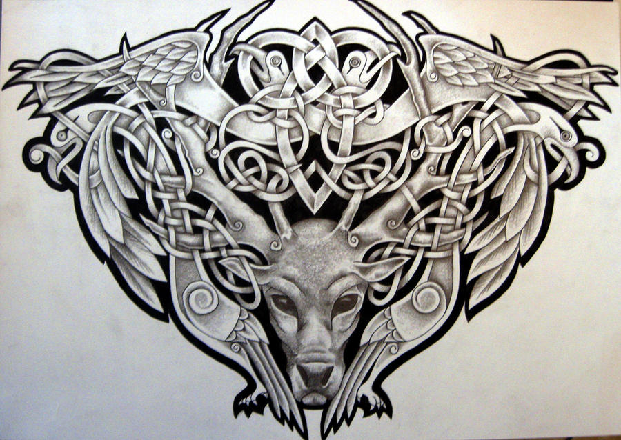 Celtic Stag And Birds By Tattoo Design On Deviantart