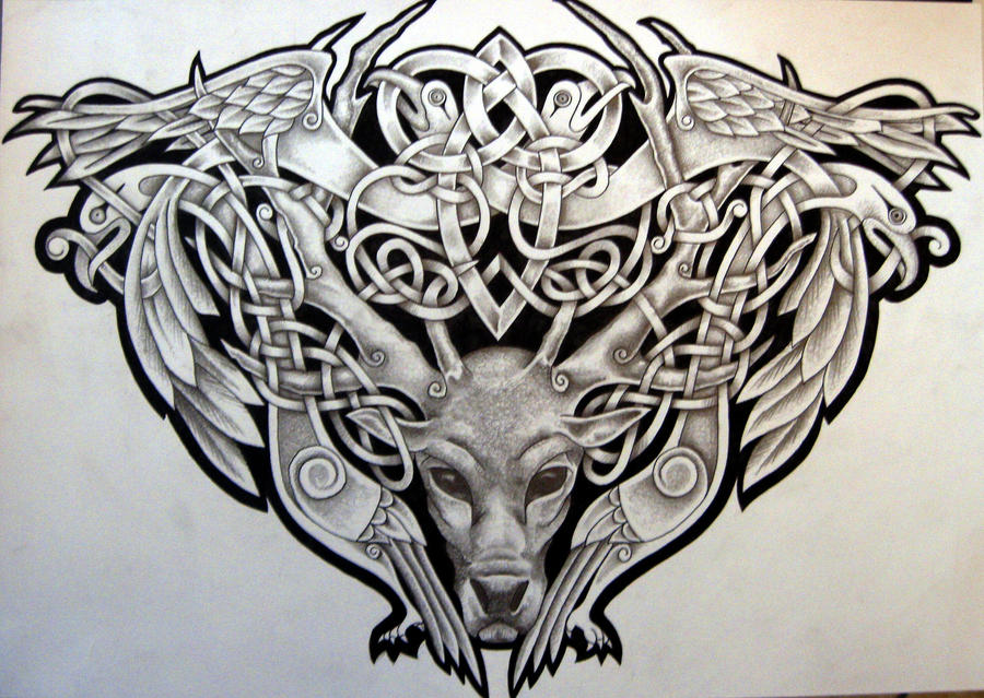 56528b5d4c421 Celtic Stag and Birds by Tattoo-Design on DeviantArt