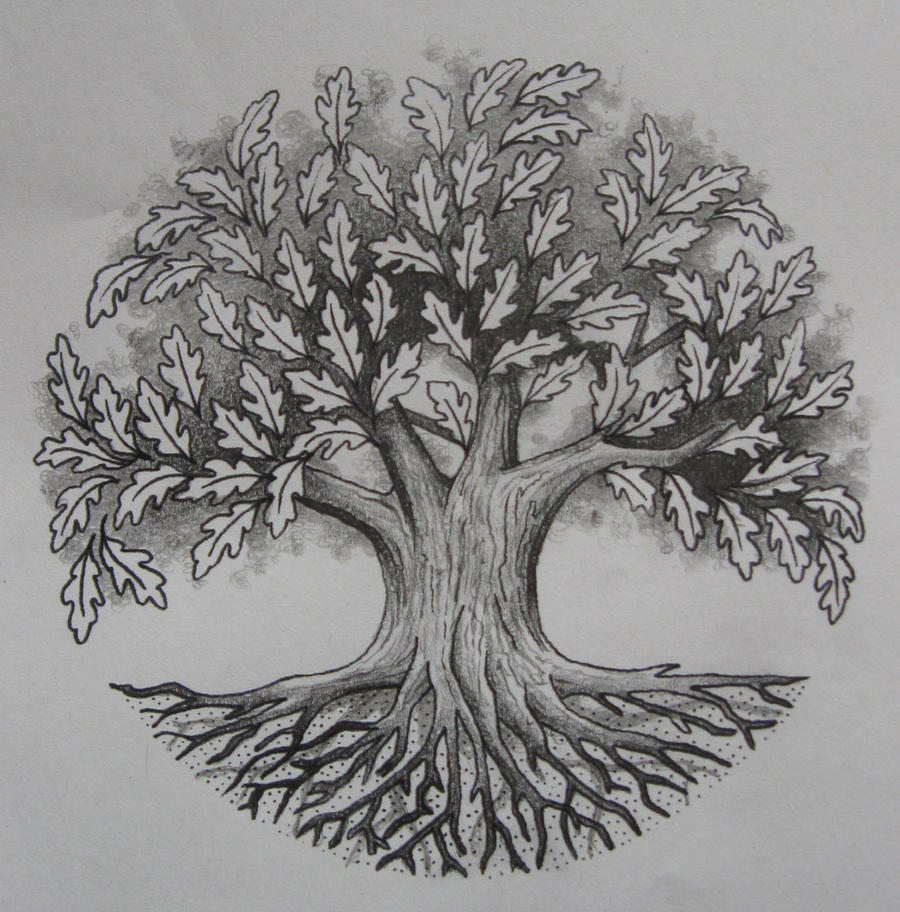 oak tree by tattoo design on deviantart. Black Bedroom Furniture Sets. Home Design Ideas