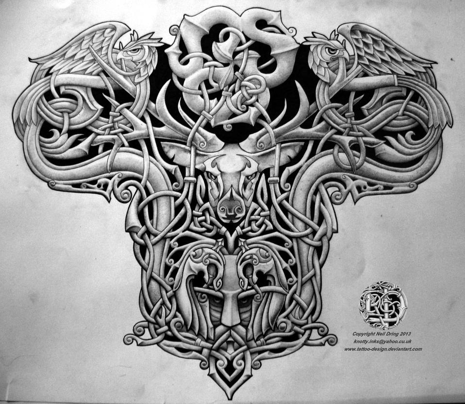 Celtic warrior back tattoo design by Tattoo-Design