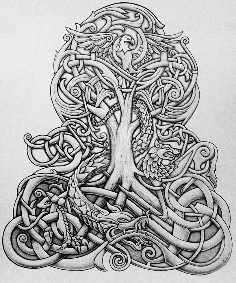 yggdrasil and dragon by tattoo design on deviantart