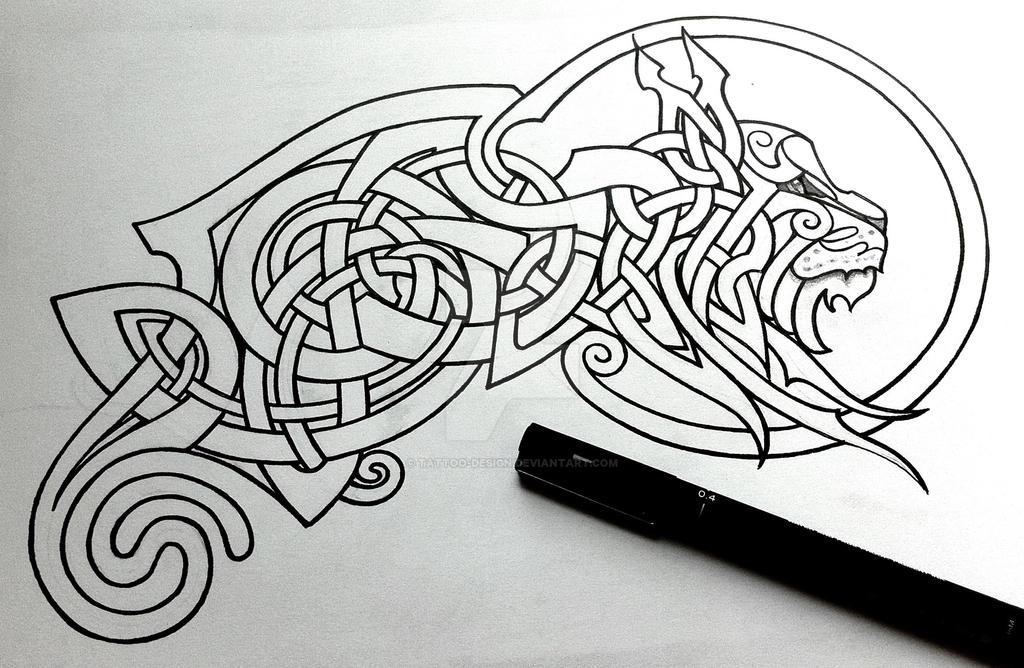 celtic lynx linework by tattoo design on deviantart. Black Bedroom Furniture Sets. Home Design Ideas