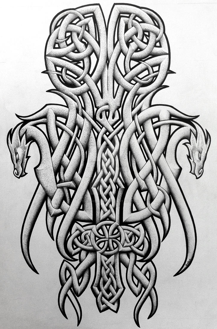celtic dragons and cross by tattoo design on deviantart. Black Bedroom Furniture Sets. Home Design Ideas