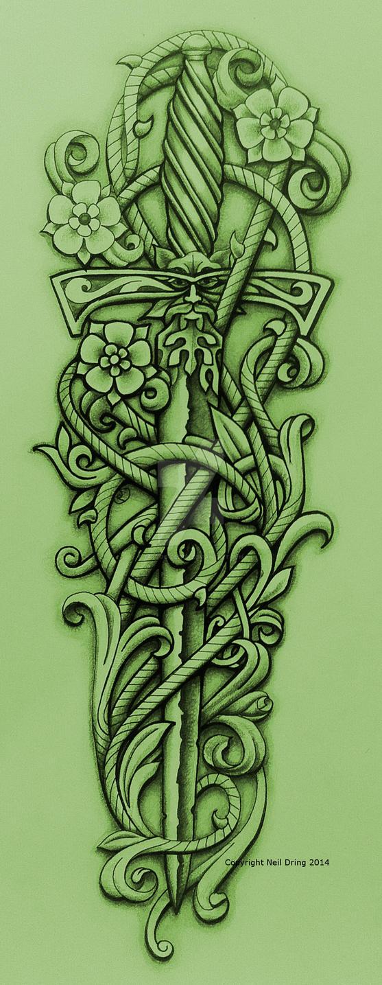 green knight 39 s sword and vine by tattoo design on deviantart. Black Bedroom Furniture Sets. Home Design Ideas