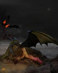 Dragon and mermaid, by jaxtell