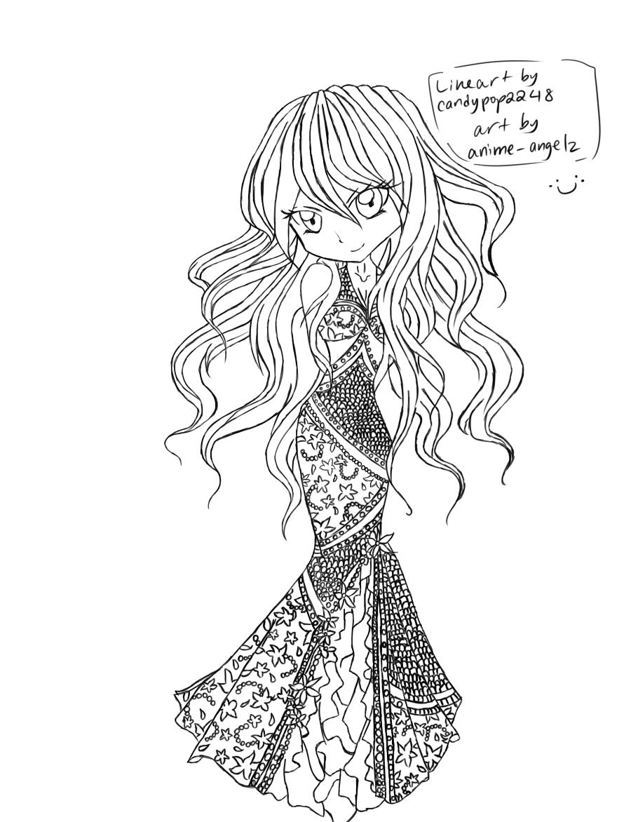 mermaid dress lineart d by anime angelz on deviantart