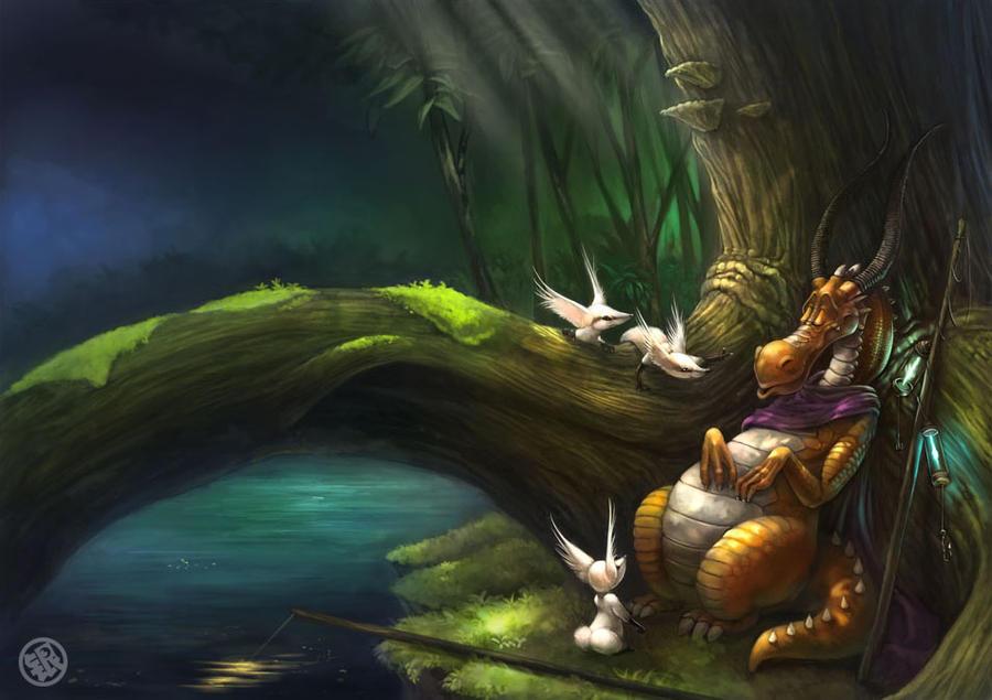 Sleepy Fisherdragon by Silverfox5213