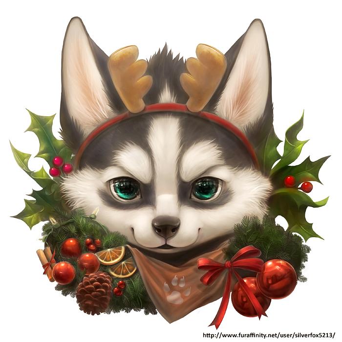 Christmas husky by Silverfox5213