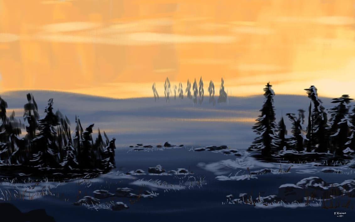 Winter sunset by PakkeuZ