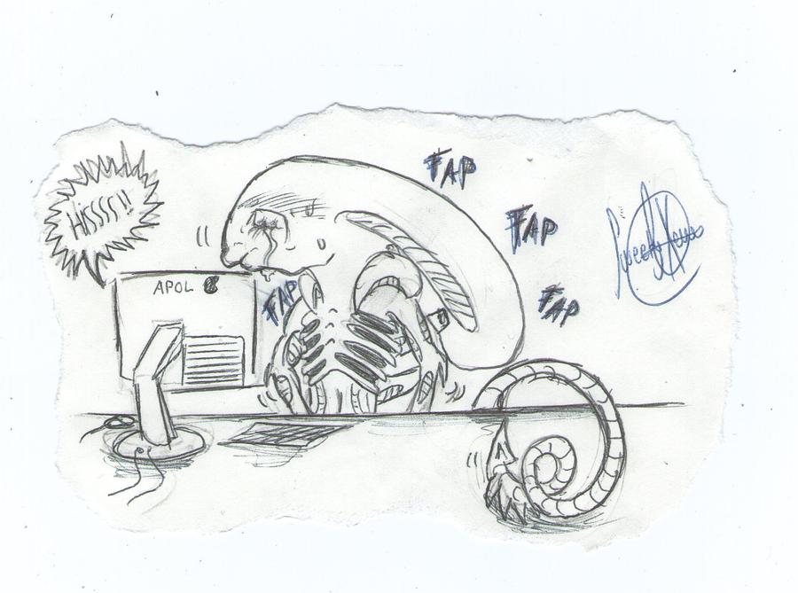 Mis dibujos, espero que os gusten - Página 4 Xeno_fapping_xd_by_sweetyxenomorph-d58a64b