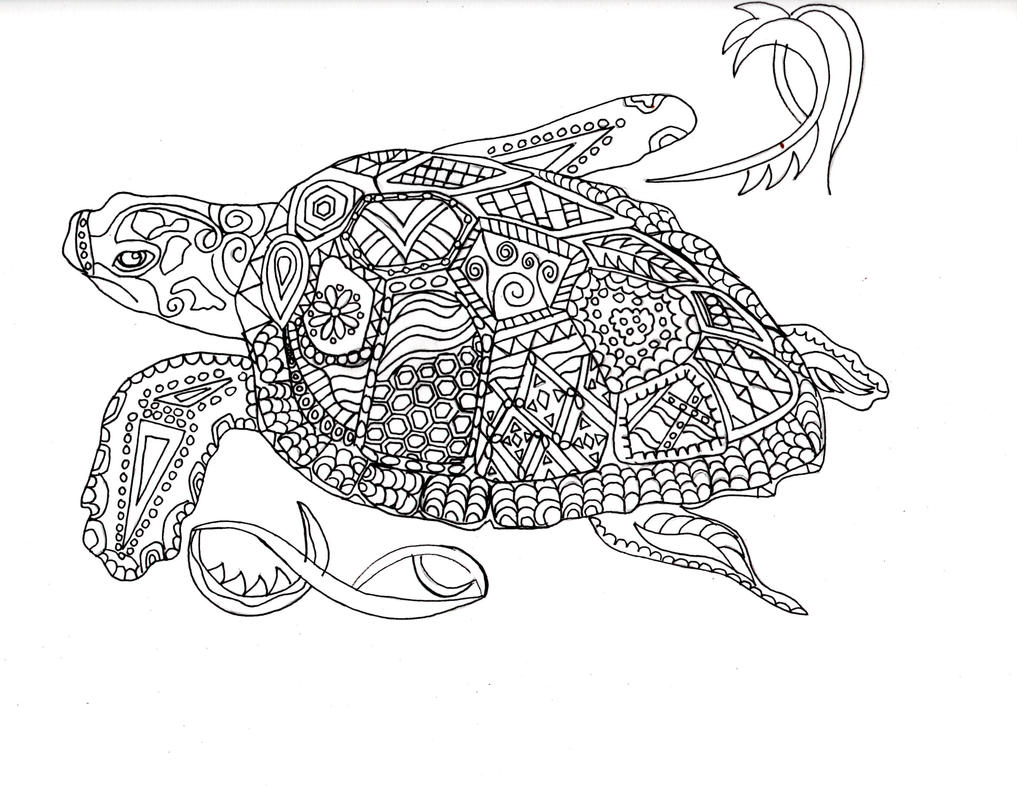 Abstract Turtle Coloring Pages : Wandering sea turtle by heartbeatart on deviantart