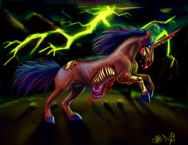 Zombie Unicorn by chrismoet