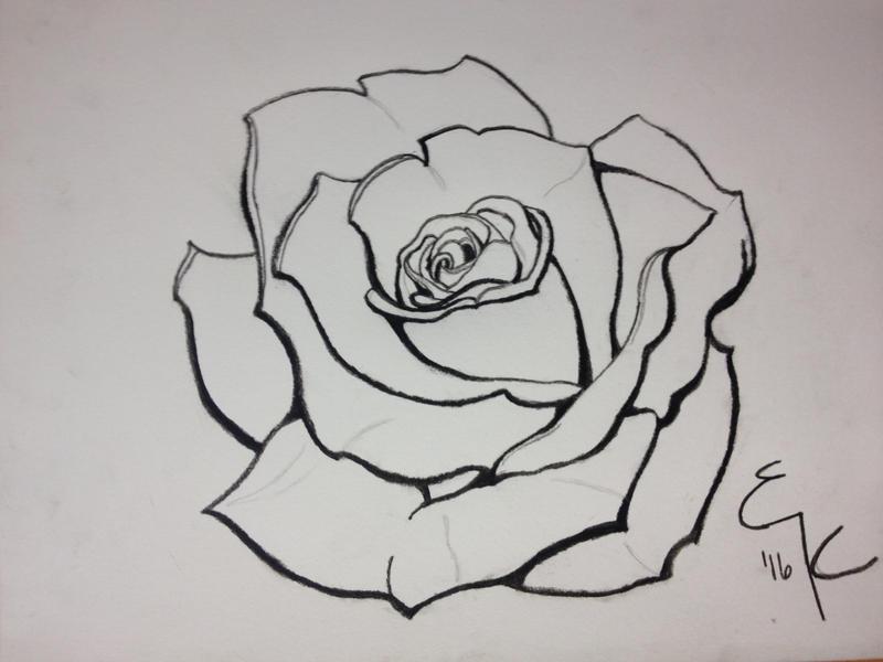 Traditional Flower Line Drawing : Rose line weight dimension study by ek erilaz on deviantart