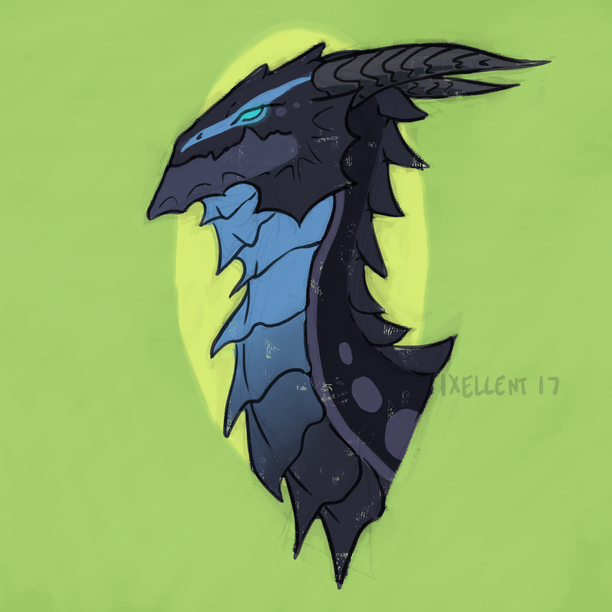 Flight Rising Bust - Midnight Skink Guardian by ixellent