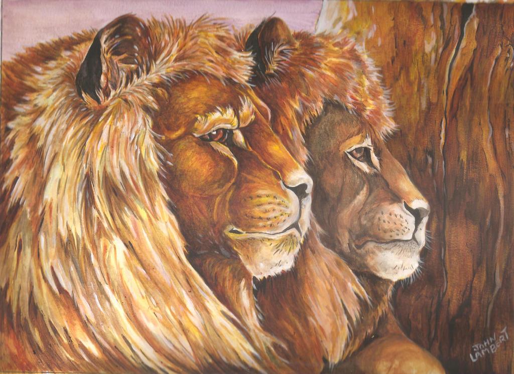 Twin Lions by Batman4art