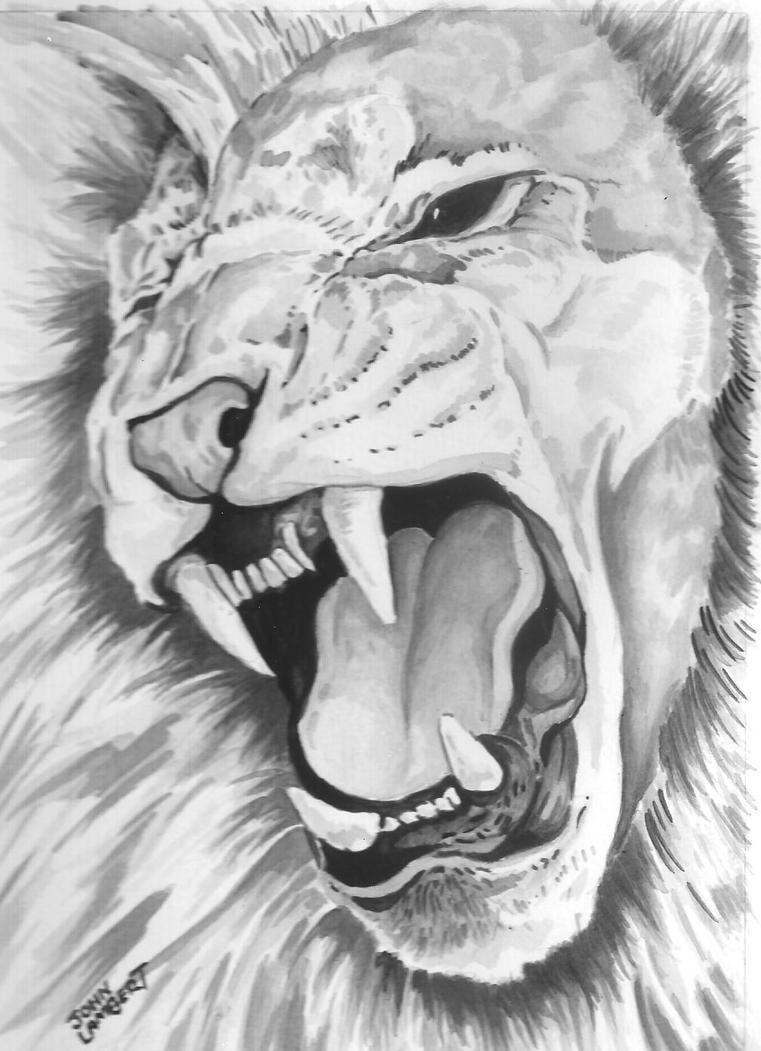 Lion Roaring by Batman4art