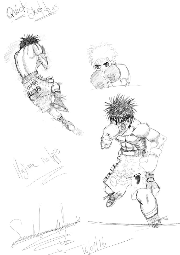 Hajime no Ippo practice sketches by butt-4-brains