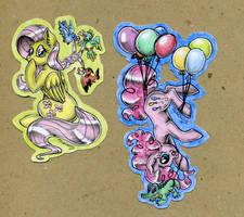 Fluttershy and Pinkie by DarkCherry87