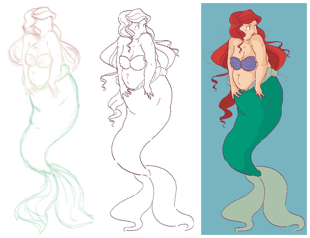 fat/chubby Ariel WIP by Soul-Malfunction